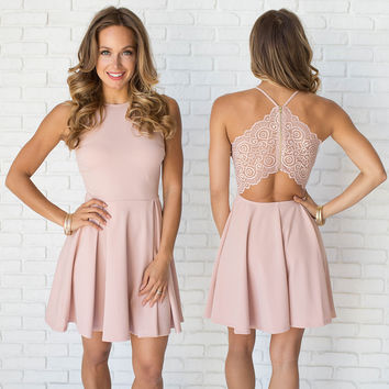 Avalon Babydoll & Lace Dress In Pink