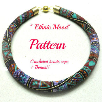 Ethnic Mood Crocheted  Beads Rope necklace pattern Tutorial and bonus  for personal use only