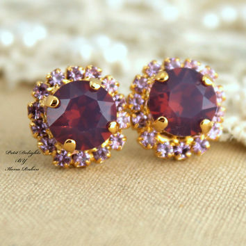 Opal Purple Violet  Swarovski Rhinestone Stud lavender earrings,bridesmaids jewelry,bridal earrings - 14k plated gold post earrings.