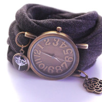 Endless Wrap Watch Dark Antique Bronze Watch Bracelet Black Cuff Flower Bracelet Fashion accessory Women Teens Wrist Tattoo Cover