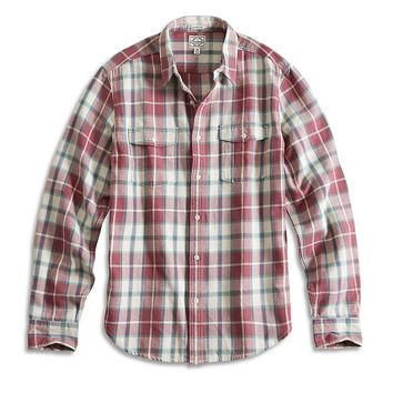 Lucky Brand Pier Dive Workwear Shirt Mens - Burg/Green