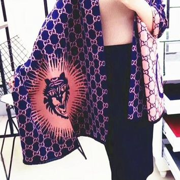 One-nice™ Perfect Gucci Tiger Print Women Fashion Winter Accessories Sunscreen Cape Scarves Scarf