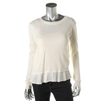 Jamison Womens Knit Sheer Trim Pullover Sweater