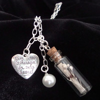 Necklace, Message In A Bottle - My Heart is Perfect..You Are Inside, Charms, Silver Chain, Etsy Jewelry, Free Shipping USA, Buy 2 Get 1 Free