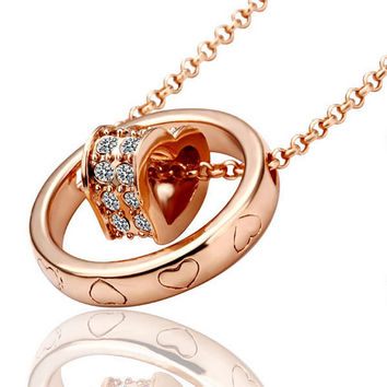 Heart in Circle Rose Gold Plated Necklace