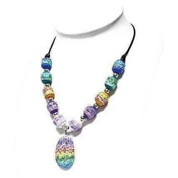 Free Spirit Multi-Color Hand Made Polymer Clay Bead Necklace