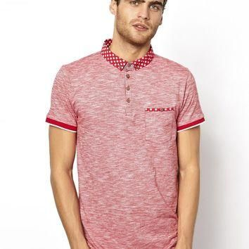 Brave Soul Polo Shirt With Floral Collar