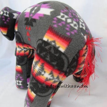 Navajo blanket elephant, gray fire, pendleton inspired, stuffed animal, plush, plushie, gray and red, pendleton blanket, native indian