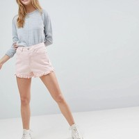 ASOS Denim Short in Washed Pink With Frill Hem at asos.com