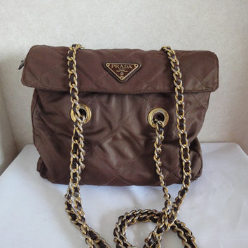 Vintage PRADA brown nylon classic tote with gold tone chain straps. Great daily use vintage bag from Prada. for Fall, autumn, winter