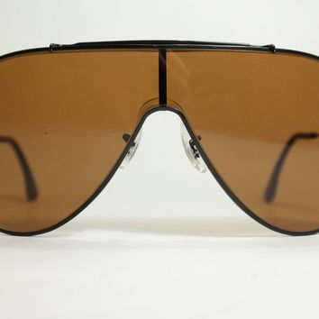 Vintage Ray Ban B USA Wings L 70 20 Schwarz Oval Sunglasses NOS