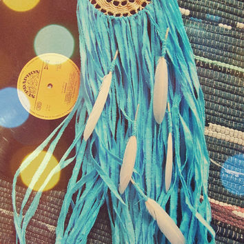 Wall Hanging Dreamcatcher - Teal and Peach Dream Catcher - Bohemian Bedroom - Boho Gypsy Decor - Hippie Nursery