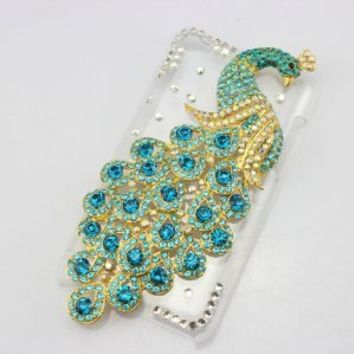 bling 3D leather case light blue peacock diamond rhinestone crystal hard Case cover for apple ipod touch 4 gen 4g 4th