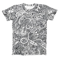 The Hippie Dippie Doodles ink-Fuzed Unisex All Over Full-Printed Fitted Tee Shirt