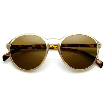 Retro Fashion P3 Matte Finish Keyhole Round Aviator Sunglasses 9178