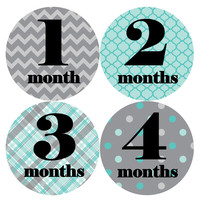 Baby Boy Monthly Milestone Stickers Style #088