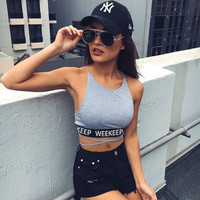 Fashion 2017 Trending Fashion Women Hollow Bandage Sexy Halter Neck Spagehetti Strap Erotic Top Women Tank Vest _ 13415