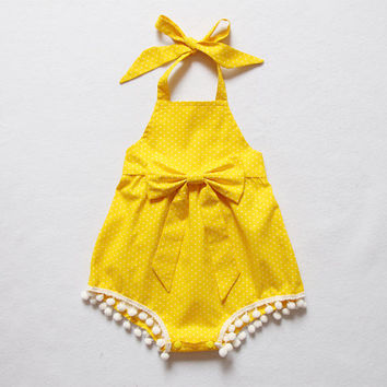 Yellow Polka Dot Baby Gril Romper Baby Romper Pom Pom Bubble Romper Halter Romper Sunsuit Beach Newborn Romper Baby Shower Gift Birthday