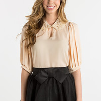 Colette Cream Blouse with Lace and Pearl Collar
