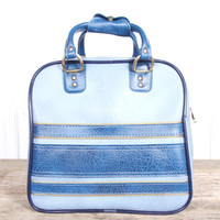 Vintage Leather Bowling Bag / Blue Bowling Bag / Striped Bowling Ball Bag / Old Bowling Bag / Retro Bowling Bag  Bowling Bag Brunswick