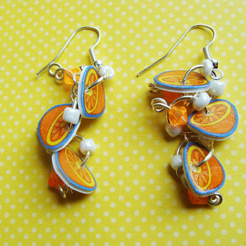 Orange Slices - Hook Earrings