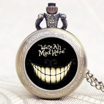 Popular Gift Alice In Wonderland Extension We are All Mad Here Words Bronze Pocket Watch With Black Case