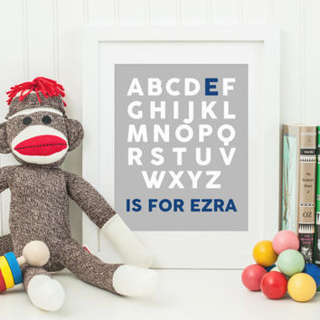 Ezra Name Art - Boys' Alphabet Nursery Room Art Digital File 8x10 - Navy Blue Gray White - Personlized Name Letter Print