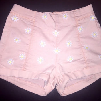 Pink daisy high waisted festival ahorts size XS 00