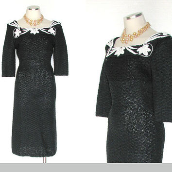 1950s Ribbon Knit Party Dress Vintage Black Cocktail Sheath S