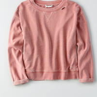 AEO Soft & Sexy Boxy Destroyed Sweatshirt, Brown