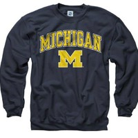 Michigan Wolverines Navy Perennial II Crewneck Sweatshirt