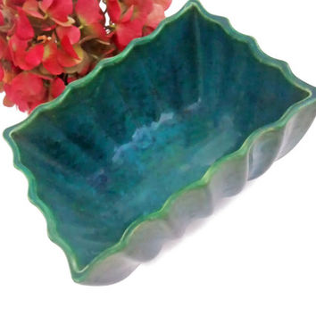 Vintage Mid Century Ceramic Planter Blue Green Ombre Fluted Rectangle 1950s or 60s