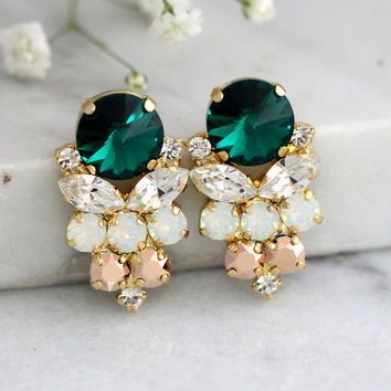 Emerlad Earrings, Emerlad Green Swarovski Earrings, Bridal Emerlad Earrings, Gift For Her, Bridal Dark Green Earrings, Green Bridal Studs