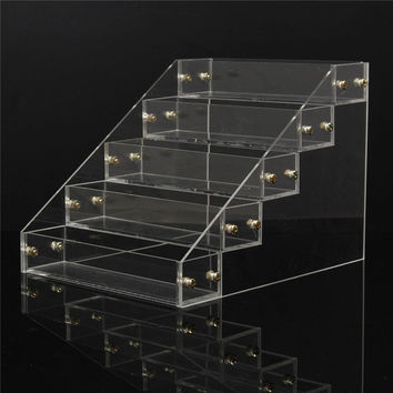 5 Tiers 25 Bottles Clear Acrylic Nail Polish Varnish Display Stand Detachable Rack Organizer