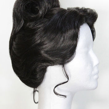 "Dark Brunette, Black, Formal 'Tiana"" Inspired Updo Wig"
