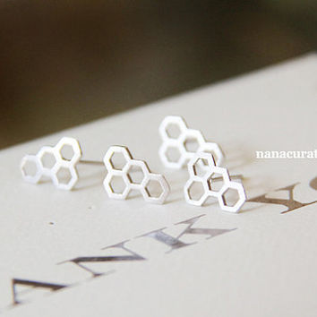 Honey Comb Stud Post Earrings, Elegant Earrings, StudsTriangle Jewelry, Minimal, Hipster Tiny Pendant Studs