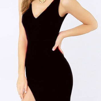 Black V-Neck Sleeveless Backless Side Slit Bodycon Mini Dress