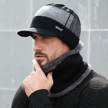 de80000d1f227 2018 Winter Hats For Men Skullies Beanie Hat Winter Cap Men Women Wool Scarf  Caps Set