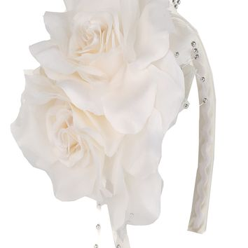 Girls Ivory Organza & Satin Double Flower Headband