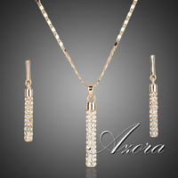 AZORA 18K Real Gold Plated Stellux Drop Earrings and Pendant Necklace Jewelry Sets TG0007
