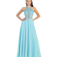 Aqua Halter Sheer Beaded Bodice Dress 2015 Prom Dresses