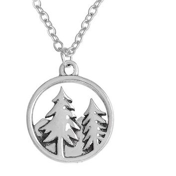 Mountain and Trees Forest Round Pendant Necklace