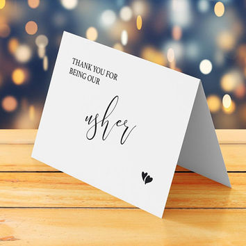 Thank you for being our usher card, Usher thank you card printable, Folded tented wedding thank you card, Unique wedding thank you note pdf