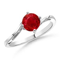 Classic Curved Solitaire Ruby Ring