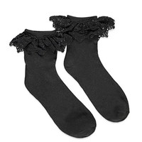 Embroidered Mesh-Trim Socks
