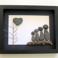 Unique Family Gift and Customized Family Art Work - Pebble Art - Personalized Family Gift - Upcycled Art