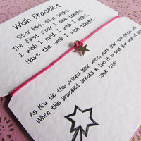 Wish Bracelet FREE Delivery UK Wish Friendship Bracelet, Wishlet, Silver Star Charm - Wedding, Graduation, Party Favours