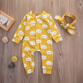 Newborn Baby Kids Girls Clothes Jumpsuit Rompers Long Sleeve Cotton Outfits Headband Baby Girl 0-18M