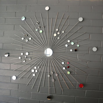 36 Inch Metal Starburst Wall Art in Silver Metallic Hand Welded Sculpture Modern Herman Miller Era Mod Retro
