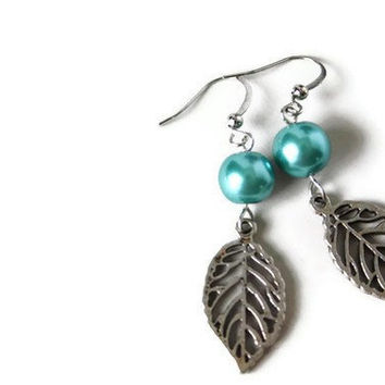 Blue Earrings. Blue Beaded Charm Earrings on Nickel Free Hooks. Simple Earrings.
